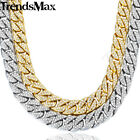 Hiphop Bling Jewelry Necklace for Men Iced Out Miami Curb Cuban Link Chain Gold