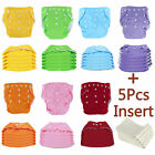 5 PCS Reusable Cloth Diapers Covers + Insert Nappies Adjustable For Baby Newborn