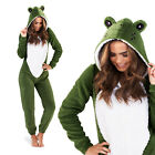 Loungeable Novelty Frog 3D All In One New Ladies Luxury Animal Pyjamas Jumpsuit