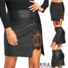 Women OL Lace Leather Stretch High Waist Short Bodycon Mini Skirt Pencil Dress