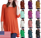 USA Round Neck 3/4 Sleeve A-Line Tunic Top S ~ 3XL