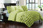 5 Piece Half Ruffled UK Super King Size Duvet Cover 800 TC 100% Egyptian Cotton