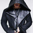 Avant-garde Big Hood Faux Leather Trim Mens Hooded Belt Coat Jacket By Guylook