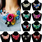 US Women Lady Chain Crystal Floral Statement Bib Chunky Necklace Collar Jewelry