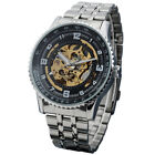 SHENHUA Male Automatic Mechanical Skeleton Mens Wrist Watch Stainless Steel Band