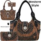 Western Buckle Country Purse Concealed Carry Handbag Shoulder Bag Wallet Set BRN