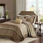 Luxury 5pc Brown & Gold Jacquard Bedspread Set AND Decorative Pillows image