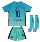 Barcelona #10 MESSI Away Green Kids Soccer Jersey Shorts Socks Youth Sizes
