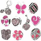 5 - 20 Silver PINK Crystal CHARMS for BRACELETS Necklaces Jewellery Making BEADS