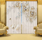 White Crystal Swan 3D Blockout Photo Curtain Print Curtains Fabric Kids Window