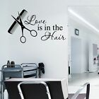 LOVE IS IN THE HAIR Wall art Sticker Salon Vinyl Transfer Decal Hairdressers