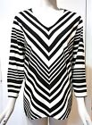NWT $75 Chico's ¾-Sleeve V-Neck Black and White Striped Top