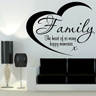 Family Hearts Memories Wall Art Quote Transfer Sticker Living Room