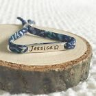 Personalised Liberty London Fabric Bracelet with Sterling Silver 925 Name Bar