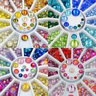 Mixed sizes flat back glitter 3d nail art decoration rhinestone wheel 2mm to 6mm