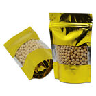 Gold Stand Up Zip Lock Aluminum Foil Bags with Window Zipper Food Storage Pouch