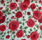 Red Roses on Ivory Cotton Polyester Chambray Fabric - Beautiful Quality Drape