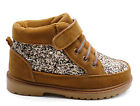 GIRLS KIDS CUTE GLITTER TAN ANKLE LACE-UP SHOES WARM WINTER BOOTIES SIZES 8-13