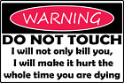 """Funny """"Warning, do not touch, you will hurt"""" Decal/Sticke FREE SHIPPING!!"""