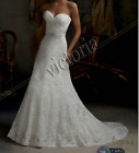 White Ivory A-Line Lace Wedding-dress Bridal Gown Stock-Size 6 8 10 12 14 16