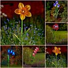 Solar Powered Glass Flower Stake Light Garden Path Outdoor Light Up Decoration