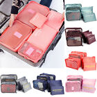 6x Packing Cubes Travel Organizers Travel Storage Laundry Bags Luggage Pouches