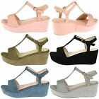 Moana Womens Mid Wedges Heels T Bar Sandals Ladies Ankle Strap Style Shoes Size