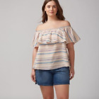 Lane Bryant Tiered Off The Shoulder Top Womens Plus 18/20 Multi Color Blouse 2x