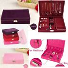 Jewelry Box Velvet Large Earrings Ring Necklace Storage Case Pink/Red/Purple