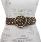 """2"""" Wide Braided Leather Belt with Metal Ring Buckle"""