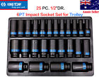 """KING TONY 25 PC. 1/2""""DR. 6PT Impact Socket Set for Trolley Made in Taiwan"""
