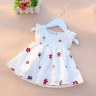UK Summer Baby Girls Dress Floral Strawberry Embroidery Sleeveless Kids Clothing