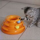 UK Cat Kitty Interactive Crazy Ball Disk Pet Amusement Game Trilaminar Toy Tower