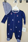 LITTLE ME 100% COTTON Navy SAILBOAT Footie & Matching Hat NWT