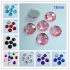 18MM Round Flat Back Rhinestone Square Facets Acrylic Diamond Loose Gems DIY
