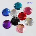 25MM Round Flat Back Rhinestone Triangle Facets Acrylic Diamond Loose Gems DIY