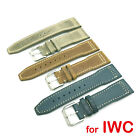 21mm 20mm Brown Blue Gray Leather Band Strap IWC Top Gun Pilot Portuguese Watch image
