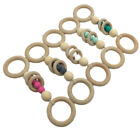 Silicone Teething Beads Baby Play Gyms Stroller Toys Natural Wooden Ring Teether