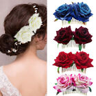 Bridal Boho Rose Flower Hair Comb Clip Hairpin Wedding Party Hair Accessory Chic