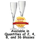"""Champagne Glasses - 9"""" Disposable Clear Plastic Flute - Parties Wedding Holidays"""