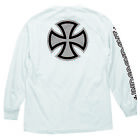 INDEPENDENT METALLIC BAR/CROSS MEN'S LONG SLEEVE T-SHIRT WHITE/SILVER