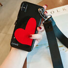 For iPhone X 6S 7 8 Plus Fashion Love Heart Soft Case Cover & Bracelet & Lanyard