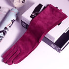 "40cm(15.75"") long cool  real  soft suede leather gloves  burgundy"