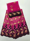 Embroidery bazin lace fabric set in 5+2 yards lace, african fabric in sell