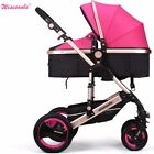Luxury Baby Stroller 2 in 1 high view Carriage Travel Foldable Pram Pushchair