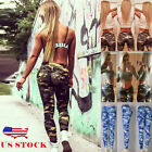 skinny combat trousers - US Women Camo Cargo Trousers Casual Pants Combat Slim Skinny Camouflage Jeggings