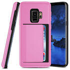 Hybrid Credit Card Slot Holder Rubber Armor Case For Samsung Galaxy S9 / S9 Plus
