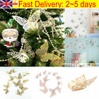 12x Christmas Tree Glitter Butterfly Hanging Home Party Decorations Uk
