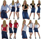 Damen Jeans Rock Jeansrock Damenrock Damenjeansrock Skirt Business ★ 4s