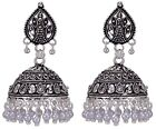 Traditional Ethnic Indian Bollywood Silver Tone Beads Jhumka Earrings Jewelry